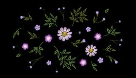 Tiny field flower realistic embroidery. Wild herbs daisy textile print decoration black fashion traditional vector. Illustration vintage design template Stock Photo