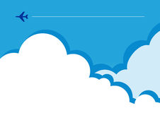 Tiny flight silhouette in clouds Stock Photo