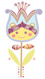 Tiny Flower. Cute design with a cheerful, smiling flower Stock Photo