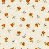Tiny flowers and leaves. Gentle, spring floral seamless pattern. Sweet tiny flowers vector illustration