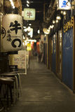 A tiny food backstreet, Hibiya, Tokyo, Japan. This backstreeet is normally thronging with people trying many different food and drinks Japanese style. In the stock photography