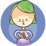 Tiny Glow. A cartoon girl is captivated by a tiny glow Royalty Free Stock Images