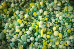 Tiny green beading to buy in a shop Royalty Free Stock Image