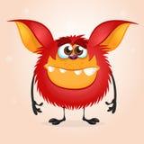 Tiny happy red cartoon monster. Halloween vector illustration isolated. royalty free illustration