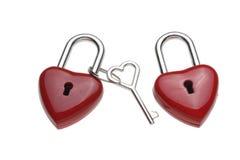 Tiny heart-shaped lock, padlock Stock Photo