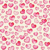 Tiny Hearts. Cute watercolour painted hearts, seamless pattern. This is a repeating pattern that matches all sides. Vector format included (traced image Stock Photos