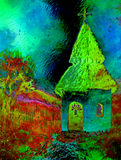 Tiny historic belfry in rural landscape, graphic collage with light and color effect. Tiny historic belfry in rural landscape, graphic collage with light and Royalty Free Stock Photos