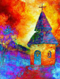 Tiny historic belfry in rural landscape, graphic collage with light and color effect. Tiny historic belfry in rural landscape, graphic collage with light and Royalty Free Stock Photography