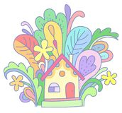 Tiny house. A tiny yellow house in fantastic color plants and flowers. Illustration at cartoon style isolated on white background vector illustration