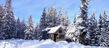 Tiny House in the Winter Stock Photo