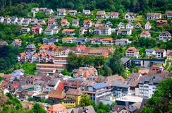 Tiny houses in Triberg city surrounded by Black forest, Germany Royalty Free Stock Images