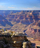 Tiny human figures put the Grand Canyon landscape in perspective at the South Rim of the Grand Canyon, Arizona. Stock Photo