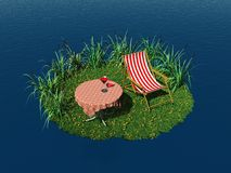Tiny island with deck chair and table Royalty Free Stock Image