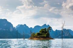 Tiny Island, Khao Sok National Park. Tiny island on Cheow Lan Lake, Khao Sok National Park in southern Thailand Stock Photography