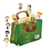 Tiny kids. Illustration of kids with a bag Stock Photos