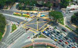 Tiny Kuala Lumpur. Aerial view of a junction in the middle of KL royalty free stock photo