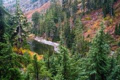 Tiny lake in North Cascades at autumn Royalty Free Stock Photo