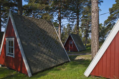 Tiny little cabins for rent Royalty Free Stock Images
