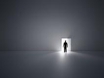 Tiny man and doors. Royalty Free Stock Image