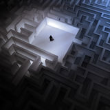 Tiny man in an endless maze Royalty Free Stock Photography