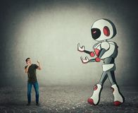 Tiny man fight against giant droid artificial intelligence. Tiny man ready for battle against giant droid artificial intelligence. Self defense concept, rivalry royalty free illustration
