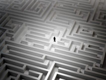 Tiny man in a maze Royalty Free Stock Photography