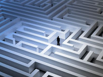 Tiny man in a maze. Tiny man in an endless maze royalty free illustration