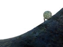 Tiny man pushing a ball of money up hill royalty free illustration