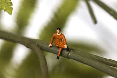 Tiny man sitting on a branch Stock Photography