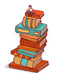 Tiny man sitting on pile of books building education Royalty Free Stock Photography