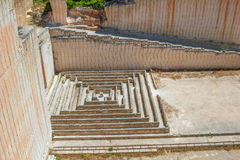 Tiny maze made of stone blocks in Lithica quarries. Royalty Free Stock Photo