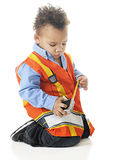 Tiny Measuring Construction Worker Stock Photography