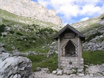 Tiny mountain chapel royalty free stock images