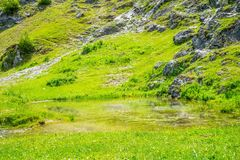 A tiny mountain lake royalty free stock photography