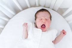 Tiny new born baby screaming loud in a white round crib Stock Images