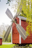 Tiny Old Wind Mill. This is an old wind mill now on display at the center of a small town of Nivala, Finland stock photography