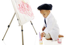 Tiny Painter at Work Royalty Free Stock Images
