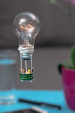 Tiny people in a balloon made from a light bulb. The concept of Stock Images