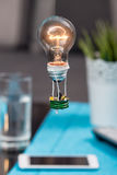 Tiny people in a balloon made from a light bulb. The concept of Royalty Free Stock Photo