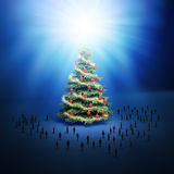 Tiny people Christmas tree. Royalty Free Stock Image