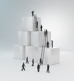 Tiny people climbing ladders royalty free illustration