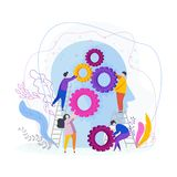 Tiny people collect gear in the human head stock illustration