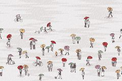 Tiny people with colorful umbrellas. Seamless banner with tiny pedestrians with umbrellas in the rain, can be tiled horizontally Royalty Free Stock Photos
