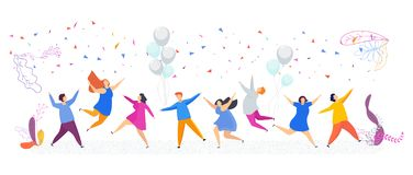 Tiny people have fun dancing. Enchanting party, corporate event. Birthday or celebration of the new year and Christmas. Joyful smiling male and female faces vector illustration