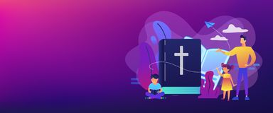 Religious summer camp concept banner header. Tiny people, kids boy and girl in christian summer camp reading bible. Religious summer camp, faith based camp royalty free illustration