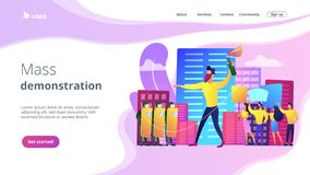 Mass demonstration concept landing page. royalty free illustration