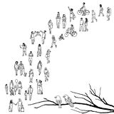 Tiny people queuing. Tiny people walking in a queue, back to front, with tree branch and two birds in the foreground royalty free illustration
