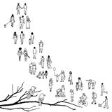 Tiny people queuing. Tiny people walking in a queue, front to back, with tree branch and two birds in the foreground vector illustration