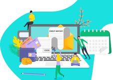 Tiny people recieve credit repor stock illustration