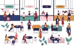 Tiny people sitting at tables in large hall and eating and vendors staying at counters. Men and women having lunch or vector illustration